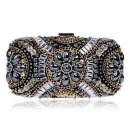 SEKUSA damska kryształowa torebka wieczorowa retro zroszony kopertówki ślubne zdobiony paciorkami diamentowymi torba Rhinestone