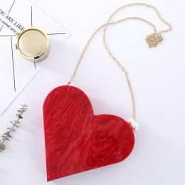 Unikatowy projektant akrylowa kopertówka moda śliczne czerwone serce kształt perła łańcuch torba wieczorowa na imprezę damskie t