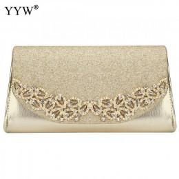 YYW szampan ślub sprzęgło kobiece wieczór złoto srebrne wesele torby Sac główna Femme z luksusowym Florl Rhinestone sprzęgło ślu