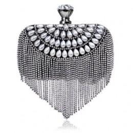 GLOIG Tassel dżetów sprzęgła frezowanie damskie torebki wieczorowe diamenty mała torebka łańcuch torebki na ramię ślub torba wie