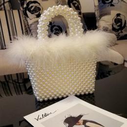 Faux Fur Pearl torba wieczorowa kobiety ręcznie tkane kasetony zroszony Tote torebki i torebki kobiece słodkie torby na ramię ko