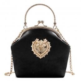 Kobiety aksamitna torebka Vintage z designem serca torba wieczorowa wesele panna młoda sprzęgła torby na ramię torebka