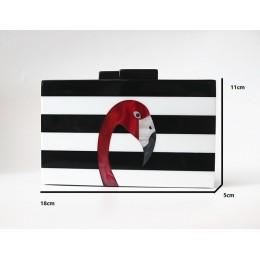 Kobiet torba marki mody portfel europejski luksusowa torebka elegancki czarny biały kobieta pasek akrylowe Flamingo na co dzień
