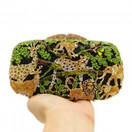 Boutique De FGG las deszczowy dżungla kobiety kryształowe zwierzęce Zoo torby wieczorowe damskie diamentowa torebka na imprezę ś