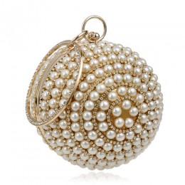 SEKUSA damskie perły zroszony torby wieczorowe koraliki perłowe kopertówki ręcznie robione torby ślubne beżowa, czarna, wysoka j