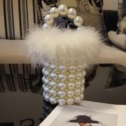 Faux futro perła torba wieczorowa kobiety Retro Handmade wyczyść perła zroszony mała portmonetka torebka damska typu bucket dams
