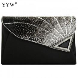 Kobiety Rhinestone kopertówka luksusowa skórzana elegancka kopertówka torby typu crossbody z klapką kobiece torebki wieczorowe B