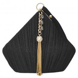 Boutique De FGG Pentagon kobiety satynowe torby wieczorowe Crystal Tassel kopertówki wesele koktajl Minaudiere torebki torba