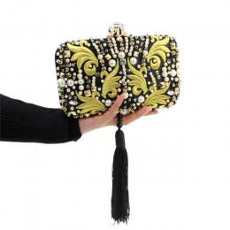 Luksusowe perły koraliki diamenty złoty haft kopertówka czarne frędzle kryształowa torebka wieczorowa torebka koktajlowa dla now
