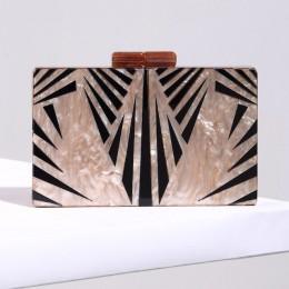 Moda perłowy akrylowy łańcuch torby kobiety torba geometryczny patchwork sprzęgła elegancka torba wieczorowa na imprezę bal tore