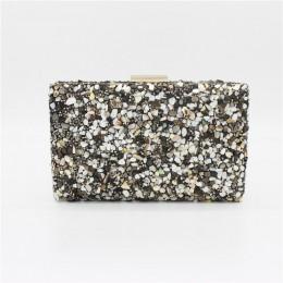 Fioletowy kamień kobiety eleganckie torby wieczorowe Lady diamentowa torba bankietowa Minaudiere kobiece wesele torebki wieczoro