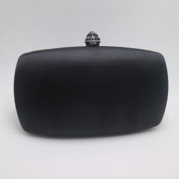 Eleganckie twarde pudełko sprzęgło satyna jedwabna ciemnozielone torby wieczorowe do dopasowywania butów i kobiet na ślub bal wi