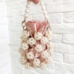 Drążą perłowe torby wieczorowe kobiety luksusowe małe zroszony perły torebki kopertówki i torebki damskie tkane torby na ramię w