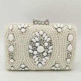 Boutique De FGG Vintage biały zroszony sprzęgła kobiet torby wieczorowe torebki ślubne i torebki wesele łańcuszkowa torba na ram