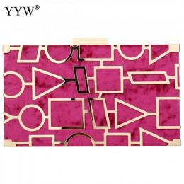 Kopertówki ze stopu cynku dla kobiet 2018 torba wieczorowa kobiety nowa sława moda elegancka geometryczna łańcuszkowa torba na r
