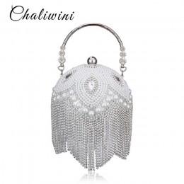 Lady Tassel perła zroszony okrągła kula torba na ślub kobiet torba wieczór dla nowożeńców kryształ Knucklebox torebka Clutch tor
