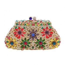 Pudełko metalowe Minaudiere sprzęgło srebrne wieczorowe torebki kryształowe kobiety Socialite na imprezę bal torba sprzęgła ślub