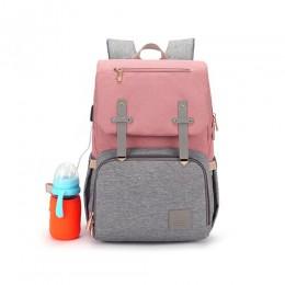 Nowa moda pielucha dla niemowląt torba z USB duża torba na pieluchy macierzyński dla mamusi tatuś wodoodporny na laptopa podróżn