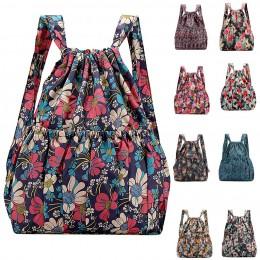Moda Vinatge plecaki ze sznurkiem kobiety o dużej pojemności kwiat w stylu etnicznym wodoodporne plecaki nylonowe plecaki plecak