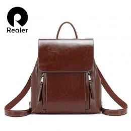 REALER retro kobiety plecak szkolne torby dla nastolatków dziewczyny skórzany plecak szkolny dla kobiet o dużej pojemności torba