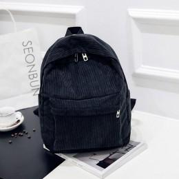 Plecak damski styl preppy plecak szkolny miękki materiał plecak podróżny sztruks Bookbag dla nastoletnich dziewcząt w paski mały