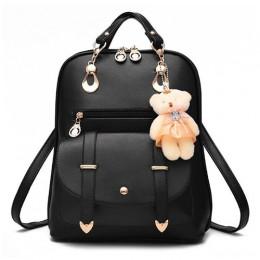 Styl preppy kobiet plecak zabawki-niedźwiadki PU skórzane tornistry dla nastoletnich dziewcząt kobiet plecak torba podróżna plec