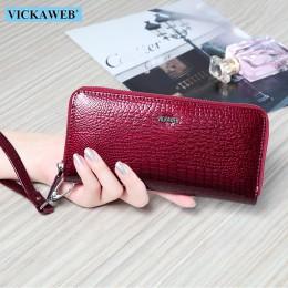 VICKAWEB portfel na nadgarstek torebka z prawdziwej skóry portfel kobiet długi zamek błyskawiczny kobiety portfele z etui na kar