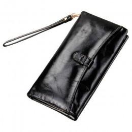 Skórzany portfel damski lśniący połysk skórzana kopertówka kobiety długie portfele damskie monety kiesa portfel kobiet Carteira