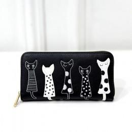 Nowa moda kobiet Portfele posiadacze kart kot kreskówka PU portfel portmonetki dziewczyna Długi Portfel Elegancki lady portfele