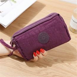 2019 moda kobiety Solid Color 3 warstwy płótnie portfele damskie telefon torba portfel krótki trójwarstwowy zamek monety kiesy k