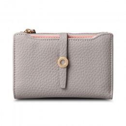 Najwyższa jakość najnowsze piękny skórzany krótki damski portfel moda dziewczyny zmień zapięcie torebka pieniądze monety etui na
