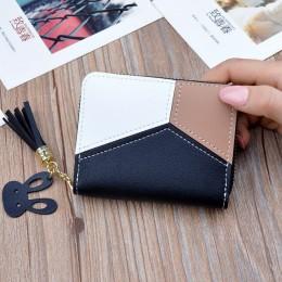 New Arrival portfel krótki kobiety portfele Zipper torebka Patchwork kasetony portfele Trendy portmonetka posiadacz karty skóry.