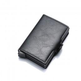 Portfele Rfid portfel męski cienki Mini portfel męski metalowy portfel na karty aluminiowe mały inteligentny portfel skórzany po