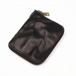 2019 portfel z prawdziwej skóry dla kobiet mężczyzn w stylu Vintage Handmade krótki mały Bifold portfele na zamek błyskawiczny t