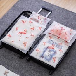Przezroczysta kosmetyczka Flamingo podróżna kosmetyczka na produkty do makijażu kobiety Zipper makijaż wanna organizator pokrowi