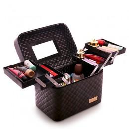 Kobiety o dużej pojemności profesjonalny organizer na kosmetyki do makijażu moda kosmetyczka wielowarstwowy schowek przenośna ła