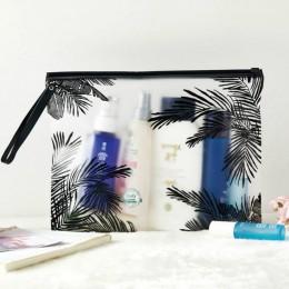 Moda kobiety przezroczyste kosmetyczki kosmetyczki z pcv organizator podróży niezbędne Beauty Case kosmetyczka produkt do kąpiel