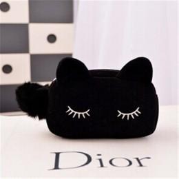 Nowe słodkie flanelowe małe torby kosmetyczne kobiety makijaż kot kreskówkowy torby do przechowywania organizator podróży pióro