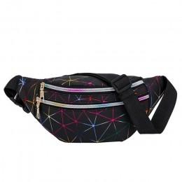 Nowy Laser holograficzny piterek Feminina Slim Shiny Neon talii torba wodoodporny PVC nerka podróży torby biodrowe dla kobiet dz