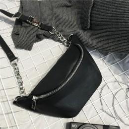Modny łańcuszek PU Lychee skórzany piterek w talii torba banka wodoodporny kradzież kobiet na spacery zakupy z paskiem na brzuch