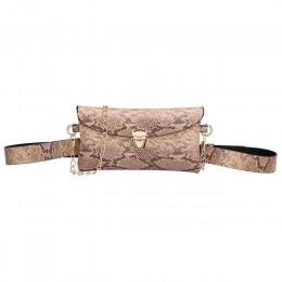 Nowa z łańcuchem saszetki na pas kobiety PU skóra Fanny pakiety torba na ramię etui na telefon moda nadruk węża saszetka na pase