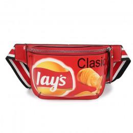 Moda Mini piterek dla kobiet Hip Hop frytka ziemniaczana talia torba jakości PU skórzane torby w klatce piersiowej nadrukowane G
