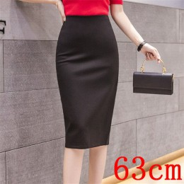 Eleganckie Midi spódnice ołówkowe wysokiej talii dla Wrok 2020 duże rozmiary spódnica 4XL 5XL szczelina czarne czerwone elastycz