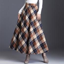 Elegancka długa spódnica damska w kratę z wysokim stanem na gumie w talii nowoczesna modna oryginalna