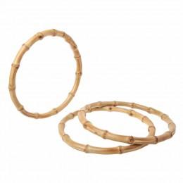 THINKTHENDO 1 x okrągła bambusowa torba uchwyt do ręcznie robionej torebki DIY torby akcesoria dobrej jakości 15x15cm