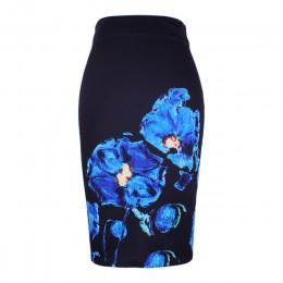 New arrival niebieski kwiat drukuj kobiety spódnice ołówkowe lady midi saias kobieta czarny faldas dziewczyny smukłe u dołu S-4X