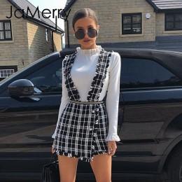JaMerry Vintage tweed plaid kobiety krótka kamizelka spódnica jesienno-zimowa casual highstreet party spódnica Spaghetti pasek d