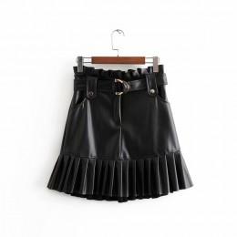 Aachoae kobiety Chic PU skóra plisowana spódnica 2020 Ruffles wiązać pasek talia kieszeń spódnica Zipper Ladies Elegnt krótka sp