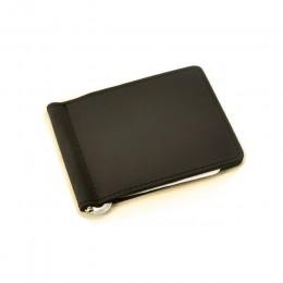 Ręcznie robiony portfel na pieniądze szczupła skóra naturalna z metalowymi pieniędzmi portfel z uchwytem Vintage ze stali nierdz
