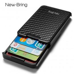 NewBring Slide portfel RFID blokowanie Carbon Fiber Credit etui na dowód osobisty dla mężczyzn kobiety mężczyzna kobieta karta p